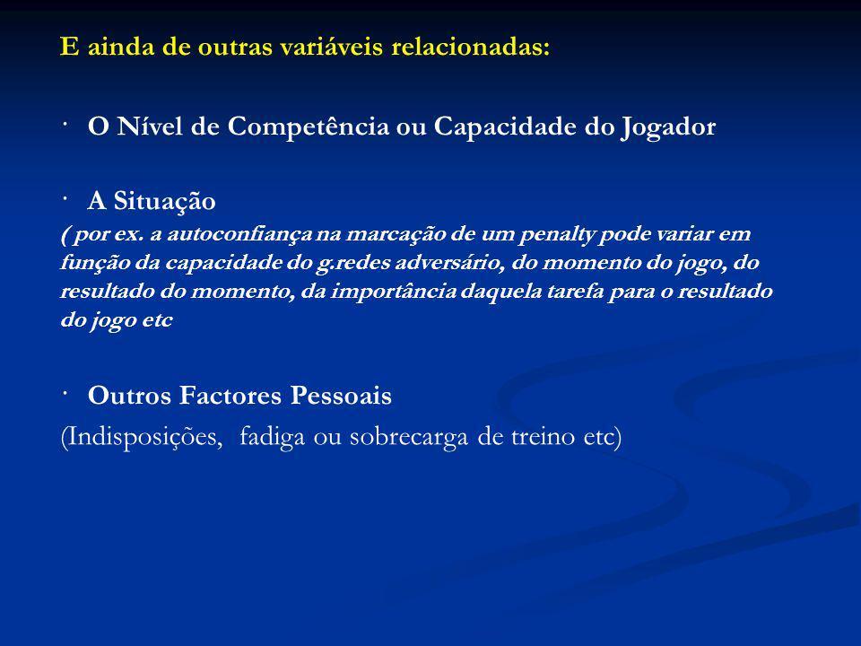 E ainda de outras variáveis relacionadas: · O Nível de Competência ou Capacidade do Jogador · A Situação ( por ex.
