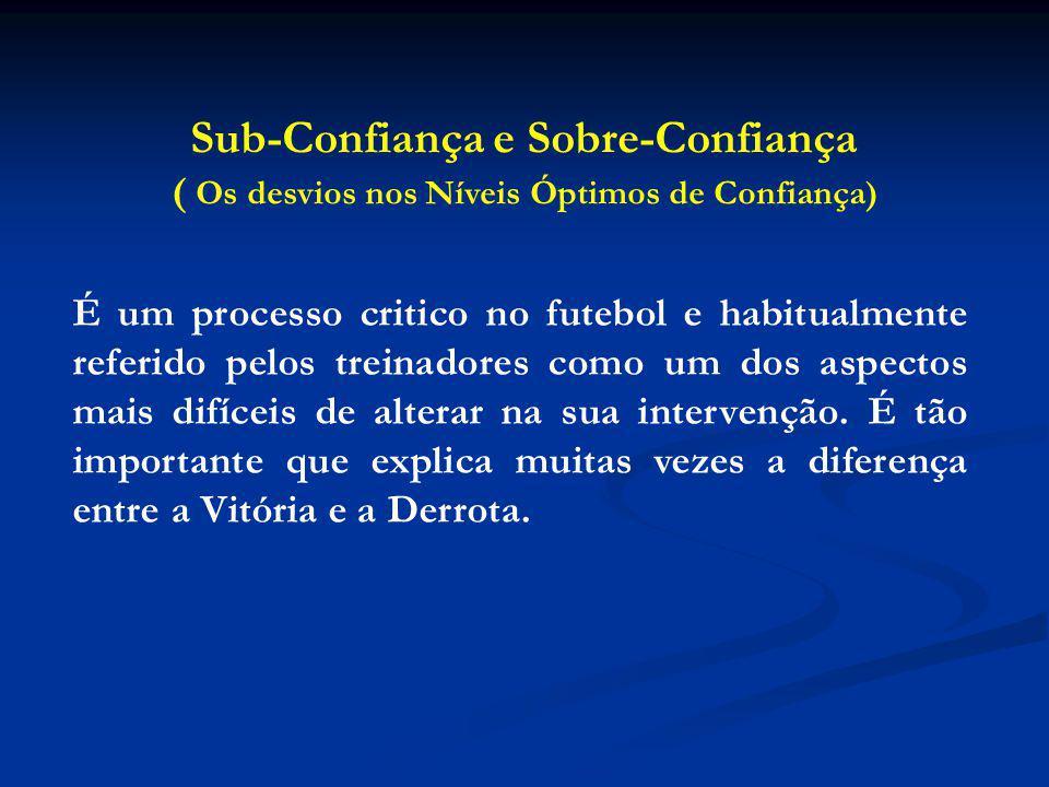 Sub-Confiança e Sobre-Confiança ( Os desvios nos Níveis Óptimos de Confiança) É um processo critico no futebol e habitualmente referido pelos treinadores como um dos aspectos mais difíceis de alterar na sua intervenção.
