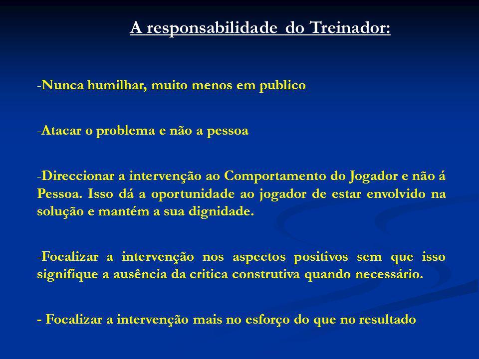 A responsabilidade do Treinador: -Nunca humilhar, muito menos em publico -Atacar o problema e não a pessoa -Direccionar a intervenção ao Comportamento do Jogador e não á Pessoa.