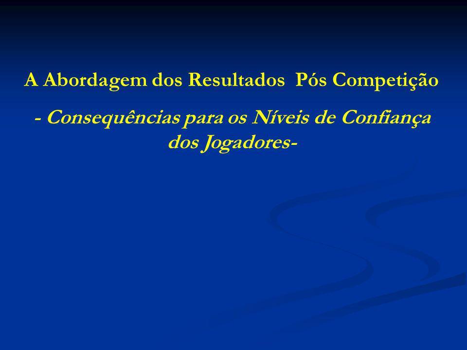 A Abordagem dos Resultados Pós Competição - Consequências para os Níveis de Confiança dos Jogadores-