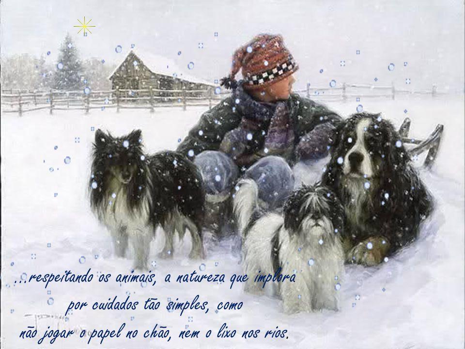 ...respeitando os animais, a natureza que implora por cuidados tão simples, como não jogar o papel no chão, nem o lixo nos rios.