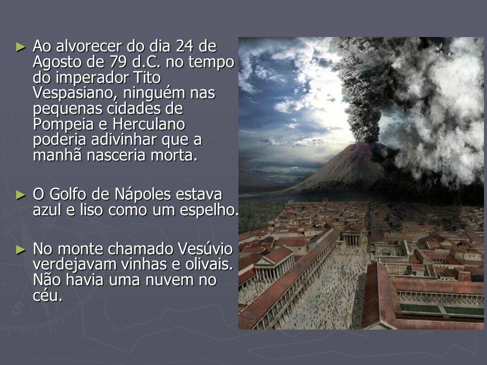 Ao alvorecer do dia 24 de Agosto de 79 d.C. no tempo do imperador Tito Vespasiano, ninguém nas pequenas cidades de Pompeia e Herculano poderia adivinh