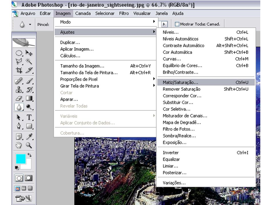 Photoshop Todas estas informações encontram-se na apostila do Photoshop Vamos agora usar um efeito que é chamado de Matiz e Saturação Clique novamente no menu Imagem e na opção Ajustes.