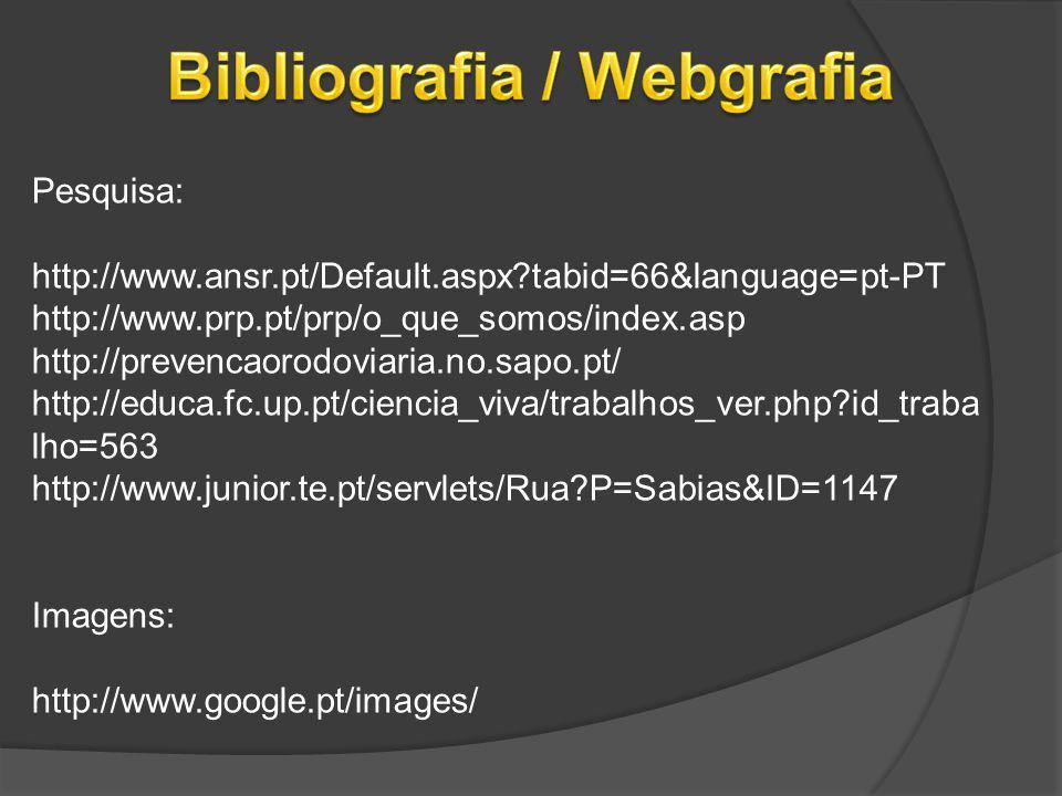 Pesquisa: http://www.ansr.pt/Default.aspx?tabid=66&language=pt-PT http://www.prp.pt/prp/o_que_somos/index.asp http://prevencaorodoviaria.no.sapo.pt/ h