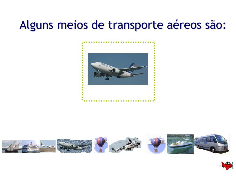 Alguns meios de transporte aéreos são: