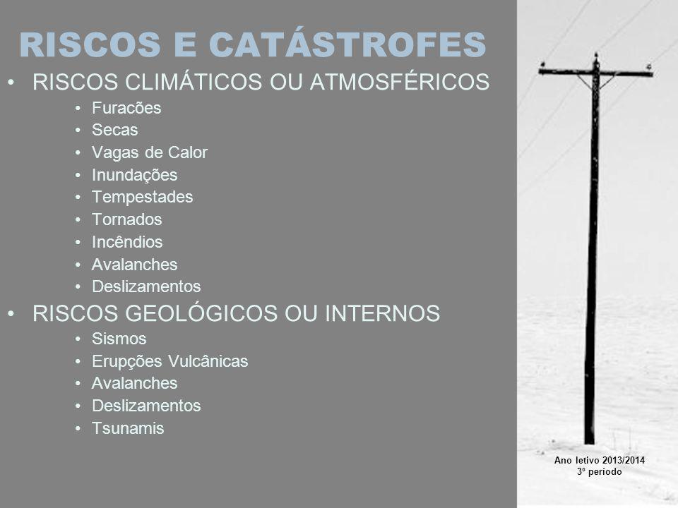 FURACÕES Áreas de Risco: –Litoral dos oceanos tropicais Tipos: –Furacões –Tufões –Wiliie-willies –Ciclones Formas de Prevenção: –Impedir construção nas áreas de risco –Sistemas de Alerta –Observação através de Satélites Meteorológicos Agravamento pelo Homem: –Alterações climáticas –Construção nas áreas de risco Origem: –Elevado gradiente térmico atmosférico e oceânico –Elevada temperatura da água oceânica Link Wikipedia: –http://pt.wikipedia.org/wiki/Furac%C3%A3ohttp://pt.wikipedia.org/wiki/Furac%C3%A3o –http://en.wikipedia.org/wiki/Hurricanehttp://en.wikipedia.org/wiki/Hurricane Ano letivo 2013/2014 3º período