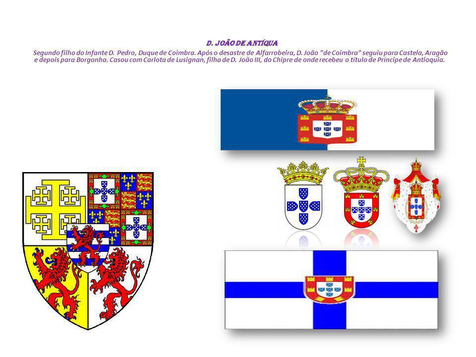 D. João DE ANTÍQUA Segundo filho do Infante D. Pedro, Duque de Coimbra. Após o desastre de Alfarrobeira, D. João