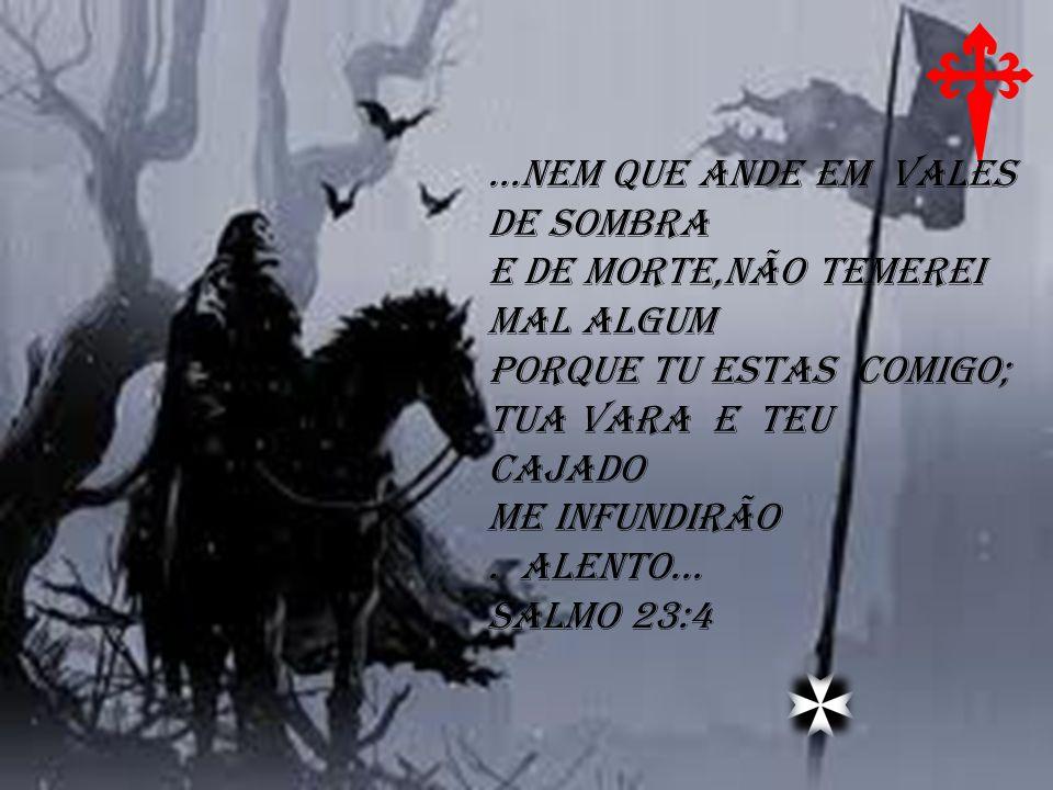 ...NEM QUE ANDE EM VALES DE SOMBRA E DE MORTE,NÃO TEMEREI MAL ALGUM PORQUE TU ESTAS COMIGO; TUA VARA E TEU CAJADO ME INFUNDIRÃO. ALENTO... SALMO 23:4