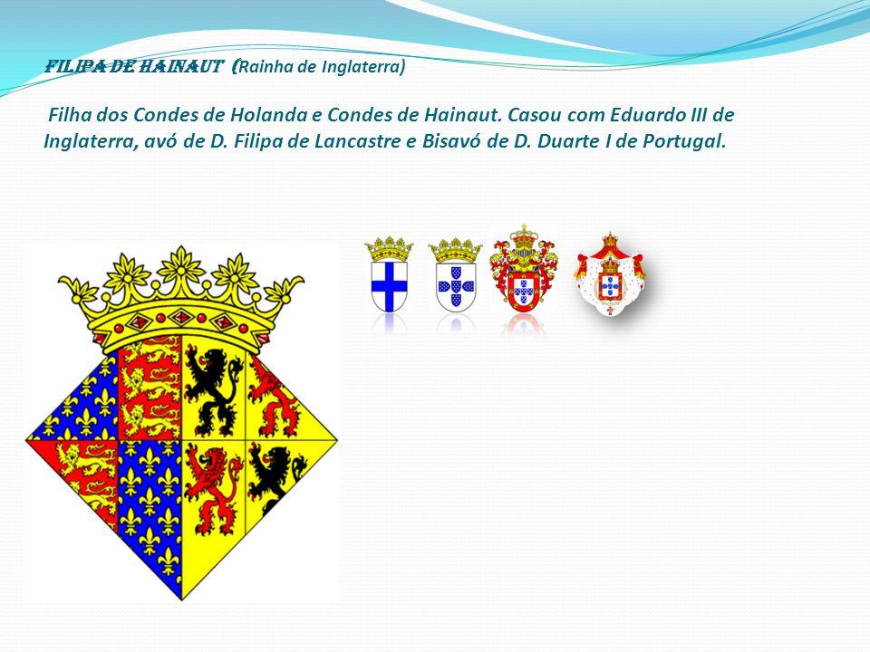 Filipa de Hainaut ( Rainha de Inglaterra) Filha dos Condes de Holanda e Condes de Hainaut.