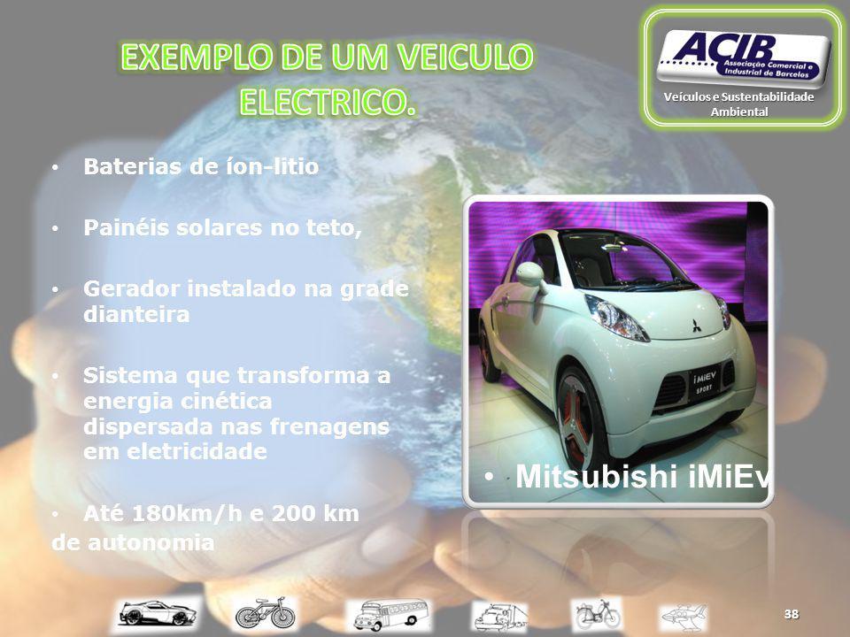 Baterias de íon-litio Painéis solares no teto, Gerador instalado na grade dianteira Sistema que transforma a energia cinética dispersada nas frenagens em eletricidade Até 180km/h e 200 km de autonomia 38 Mitsubishi iMiEv