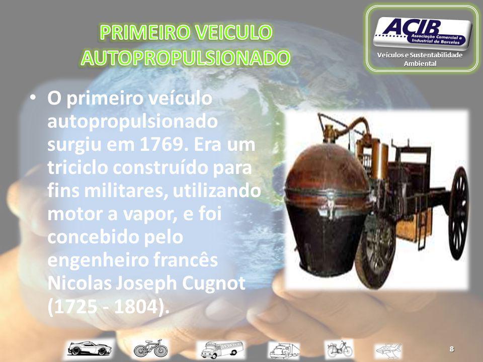 O primeiro veículo autopropulsionado surgiu em 1769.