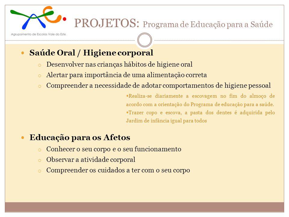PROJETOS: Programa de Educação para a Saúde Saúde Oral / Higiene corporal o Desenvolver nas crianças hábitos de higiene oral o Alertar para importânci