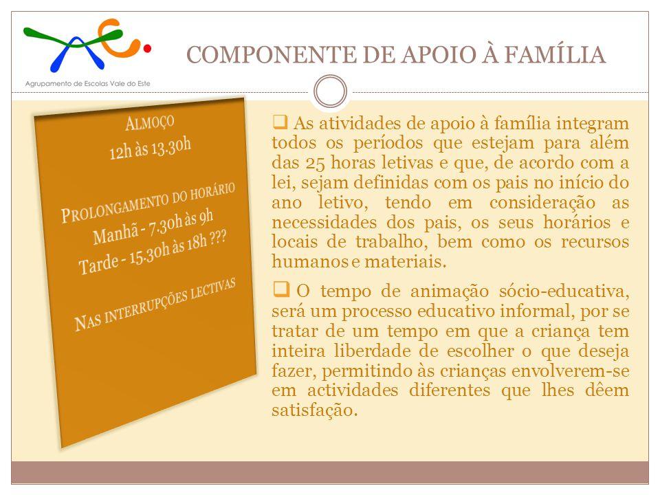 COMPONENTE DE APOIO À FAMÍLIA As atividades de apoio à família integram todos os períodos que estejam para além das 25 horas letivas e que, de acordo