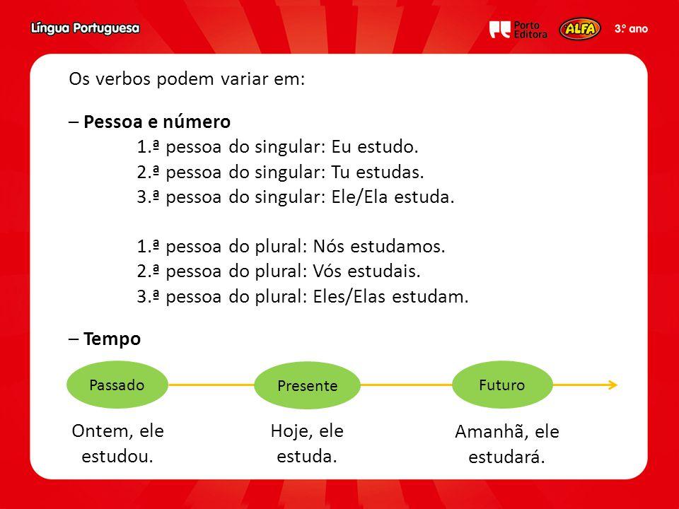 Os verbos podem variar em: – Pessoa e número 1.ª pessoa do singular: Eu estudo. 2.ª pessoa do singular: Tu estudas. 3.ª pessoa do singular: Ele/Ela es