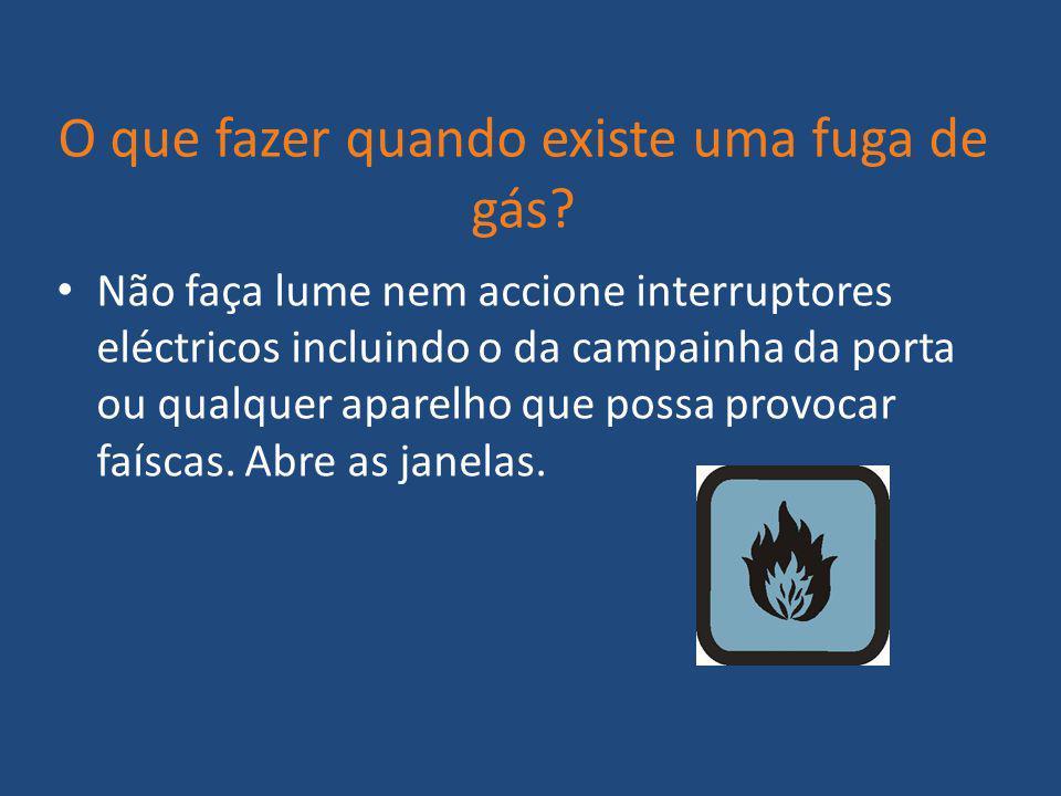 O que fazer quando existe uma fuga de gás? Não faça lume nem accione interruptores eléctricos incluindo o da campainha da porta ou qualquer aparelho q