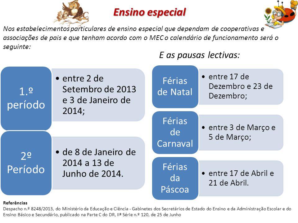 Ensino especial entre 2 de Setembro de 2013 e 3 de Janeiro de 2014; 1.º período de 8 de Janeiro de 2014 a 13 de Junho de 2014. 2º Período E as pausas