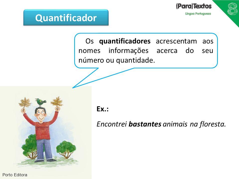 Porto Editora Os quantificadores acrescentam aos nomes informações acerca do seu número ou quantidade. Ex.: Encontrei bastantes animais na floresta. Q