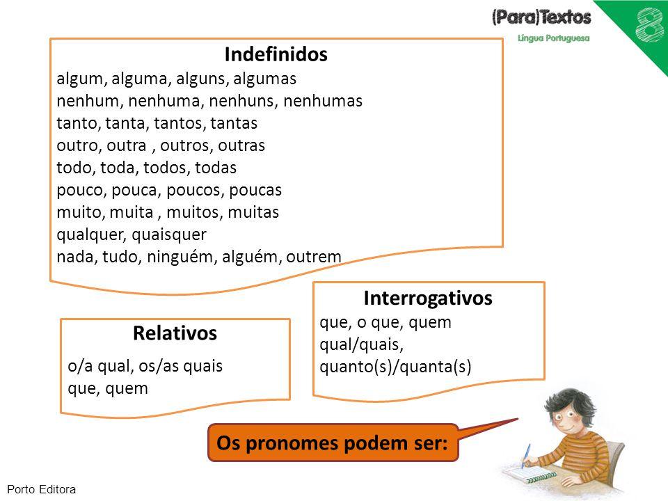 Porto Editora Os pronomes podem ser: Relativos o/a qual, os/as quais que, quem Interrogativos que, o que, quem qual/quais, quanto(s)/quanta(s) Indefin