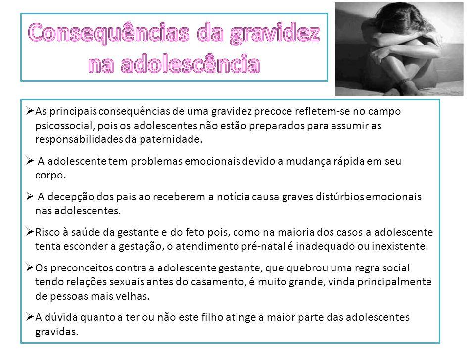 As principais consequências de uma gravidez precoce refletem-se no campo psicossocial, pois os adolescentes não estão preparados para assumir as responsabilidades da paternidade.