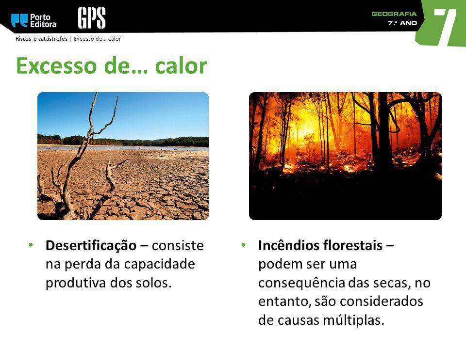 Riscos e catástrofes | Excesso de… calor Excesso de… calor Desertificação – consiste na perda da capacidade produtiva dos solos. Incêndios florestais