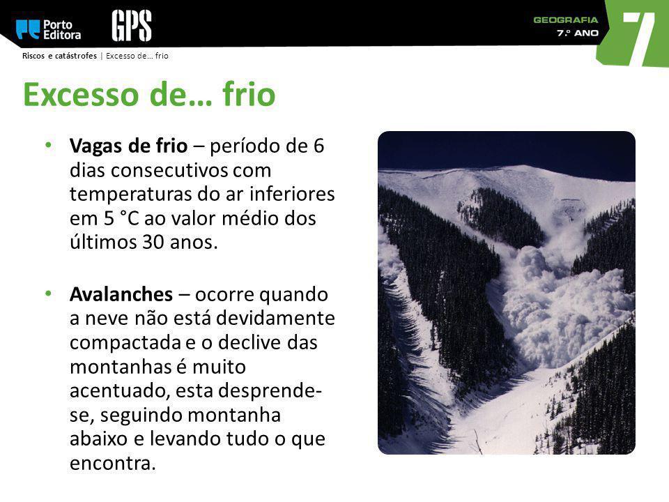 Riscos e catástrofes | Excesso de… frio Excesso de… frio Vagas de frio – período de 6 dias consecutivos com temperaturas do ar inferiores em 5 °C ao v