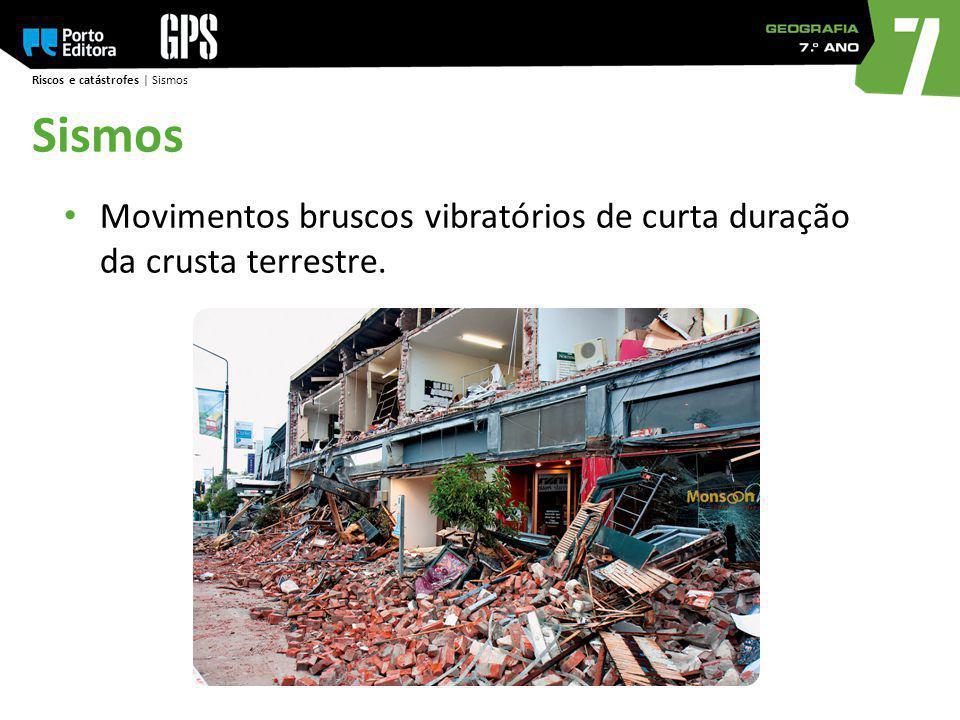 Riscos e catástrofes | Sismos Sismos Movimentos bruscos vibratórios de curta duração da crusta terrestre.
