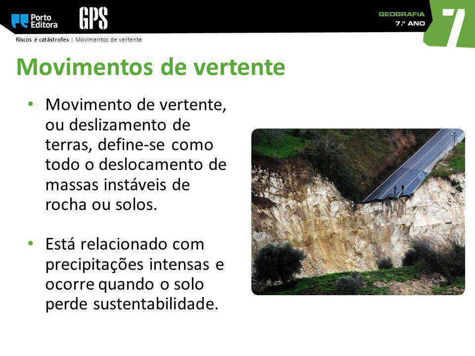Riscos e catástrofes | Movimentos de vertente Movimento de vertente, ou deslizamento de terras, define-se como todo o deslocamento de massas instáveis