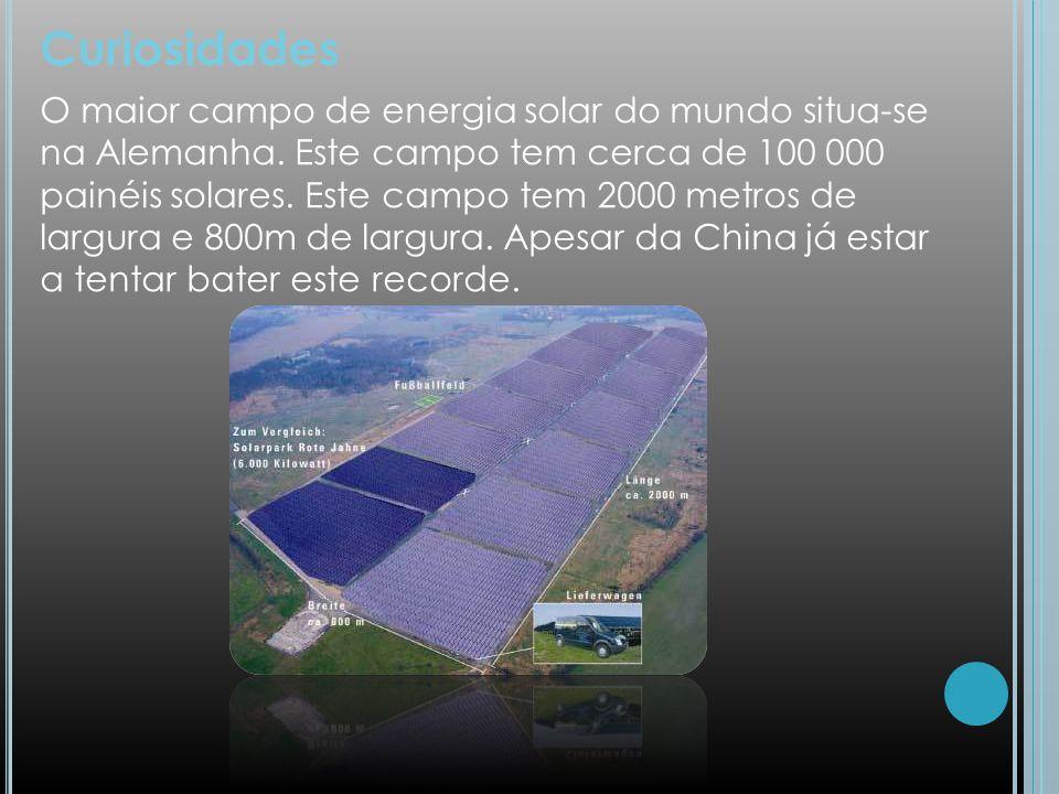 Curiosidades O maior campo de energia solar do mundo situa-se na Alemanha. Este campo tem cerca de 100 000 painéis solares. Este campo tem 2000 metros
