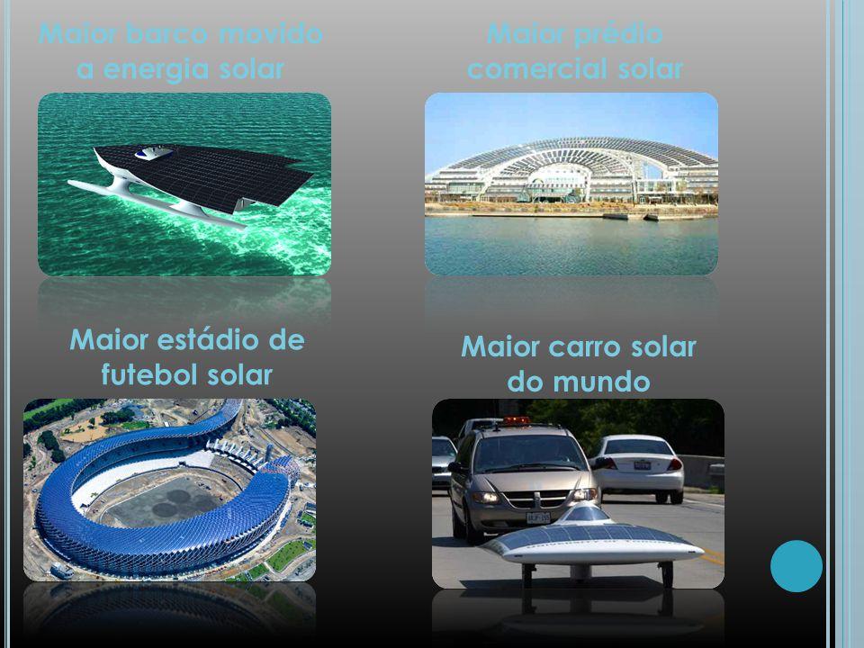 Maior barco movido a energia solar Maior prédio comercial solar Maior estádio de futebol solar Maior carro solar do mundo