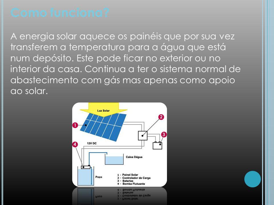 Como funciona? A energia solar aquece os painéis que por sua vez transferem a temperatura para a água que está num depósito. Este pode ficar no exteri