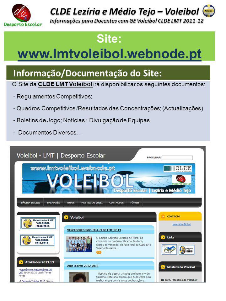 CLDE Lezíria e Médio Tejo – Voleibol Informações para Docentes com GE Voleibol CLDE LMT 2011-12 CLDE Lezíria e Médio Tejo – Voleibol Informações para
