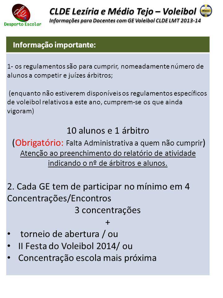 CLDE Lezíria e Médio Tejo – Voleibol Informações para Docentes com GE Voleibol CLDE LMT 2013-14 CLDE Lezíria e Médio Tejo – Voleibol Informações para