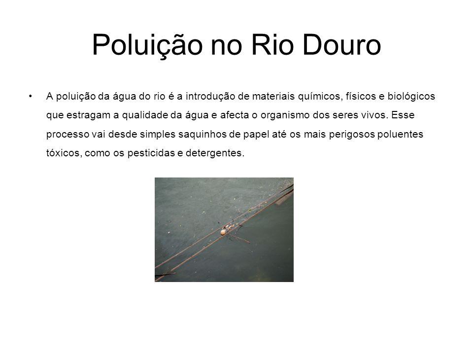 Poluição no Rio Douro A poluição da água do rio é a introdução de materiais químicos, físicos e biológicos que estragam a qualidade da água e afecta o