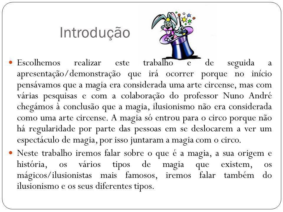 Introdução Escolhemos realizar este trabalho e de seguida a apresentação/demonstração que irá ocorrer porque no início pensávamos que a magia era cons
