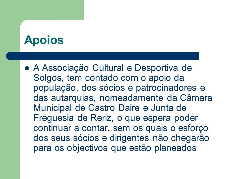 Apoios A Associação Cultural e Desportiva de Solgos, tem contado com o apoio da população, dos sócios e patrocinadores e das autarquias, nomeadamente