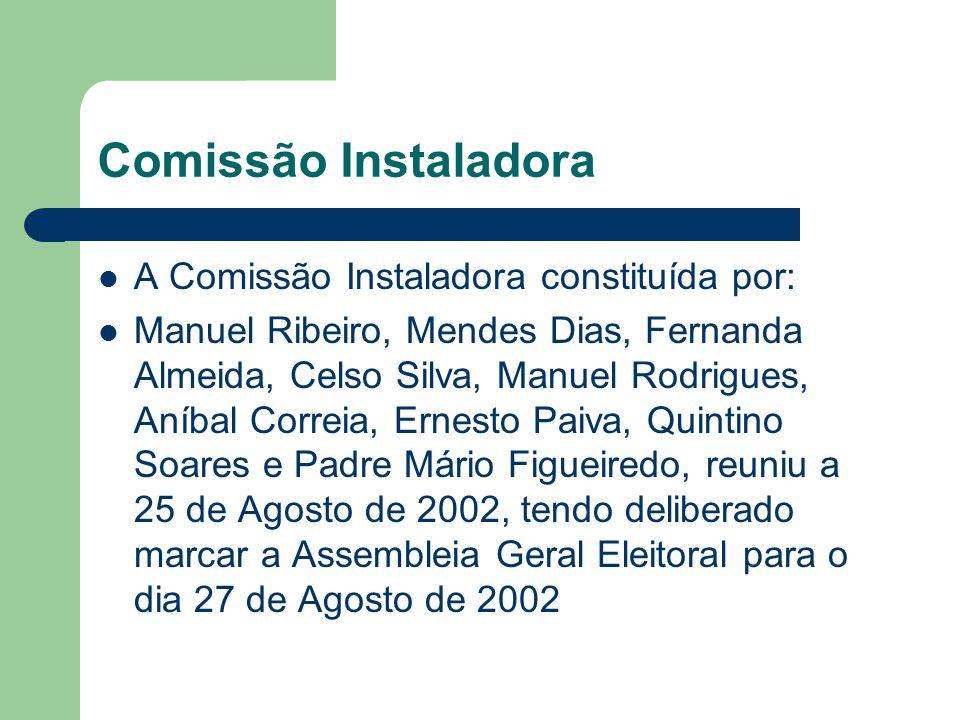 Comissão Instaladora A Comissão Instaladora constituída por: Manuel Ribeiro, Mendes Dias, Fernanda Almeida, Celso Silva, Manuel Rodrigues, Aníbal Corr