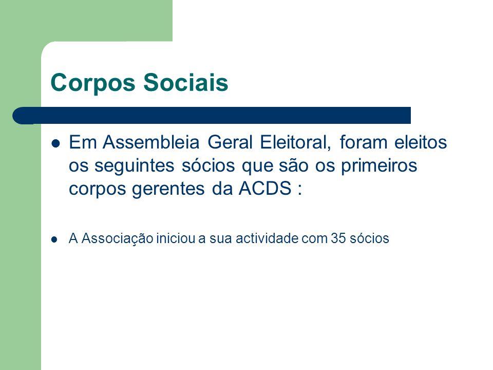 Corpos Sociais Em Assembleia Geral Eleitoral, foram eleitos os seguintes sócios que são os primeiros corpos gerentes da ACDS : A Associação iniciou a