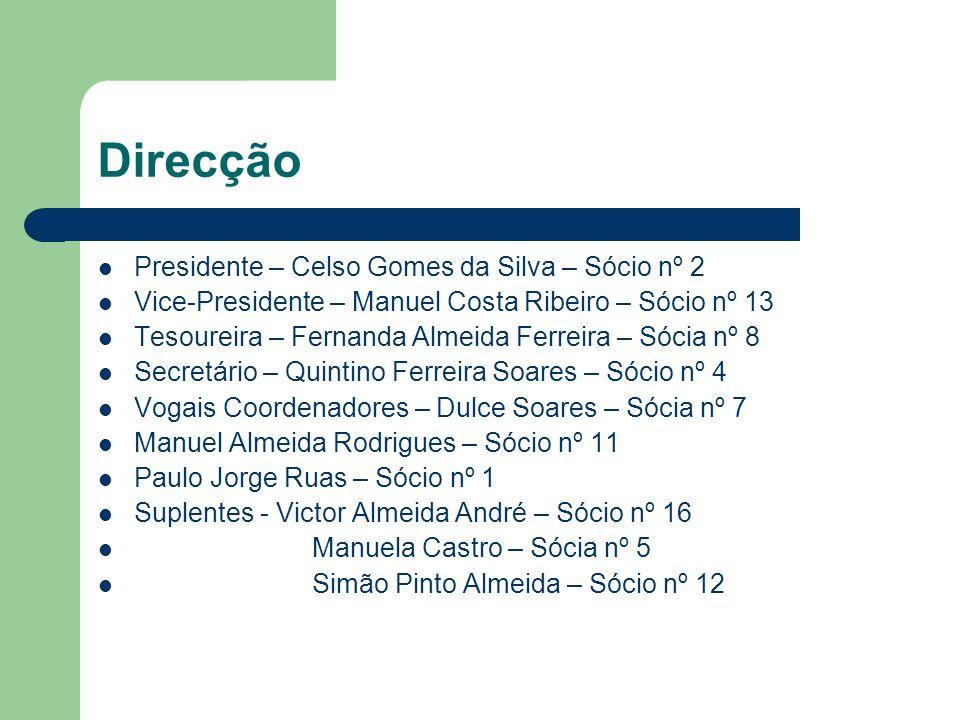 Direcção Presidente – Celso Gomes da Silva – Sócio nº 2 Vice-Presidente – Manuel Costa Ribeiro – Sócio nº 13 Tesoureira – Fernanda Almeida Ferreira –
