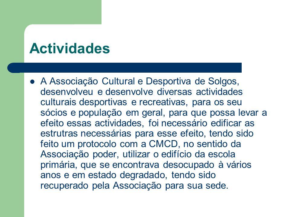 Actividades A Associação Cultural e Desportiva de Solgos, desenvolveu e desenvolve diversas actividades culturais desportivas e recreativas, para os s