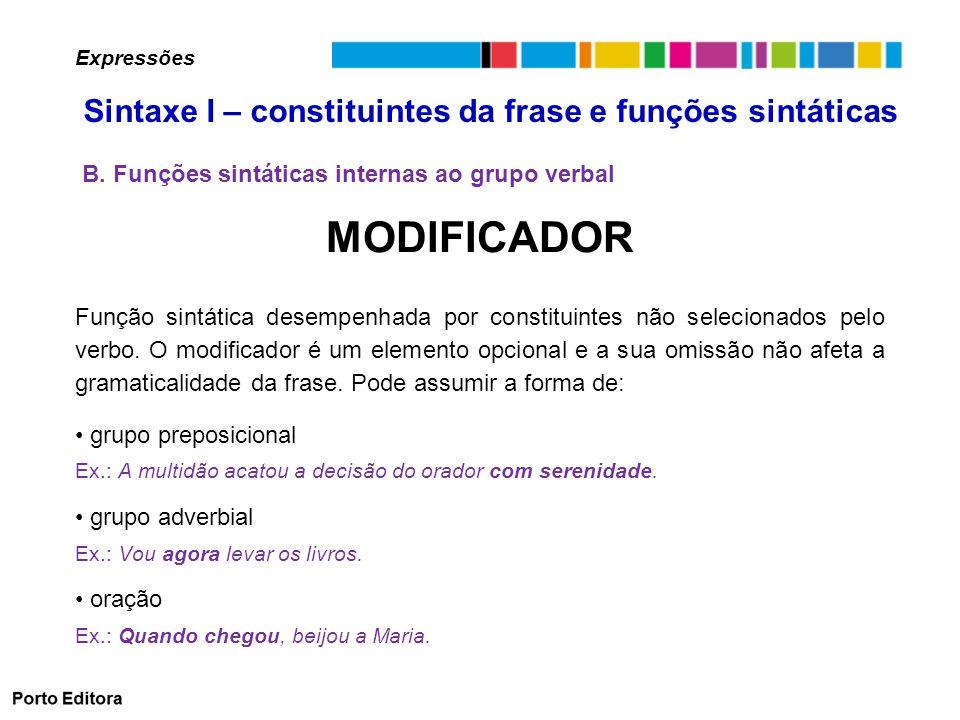 MODIFICADOR Função sintática desempenhada por constituintes não selecionados pelo verbo.