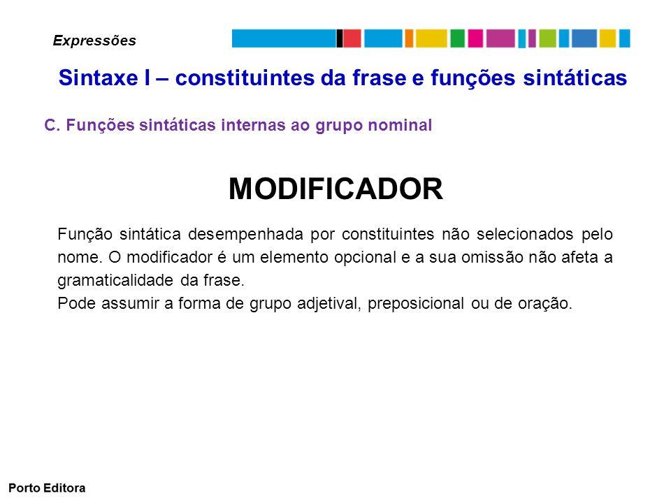 MODIFICADOR Função sintática desempenhada por constituintes não selecionados pelo nome.