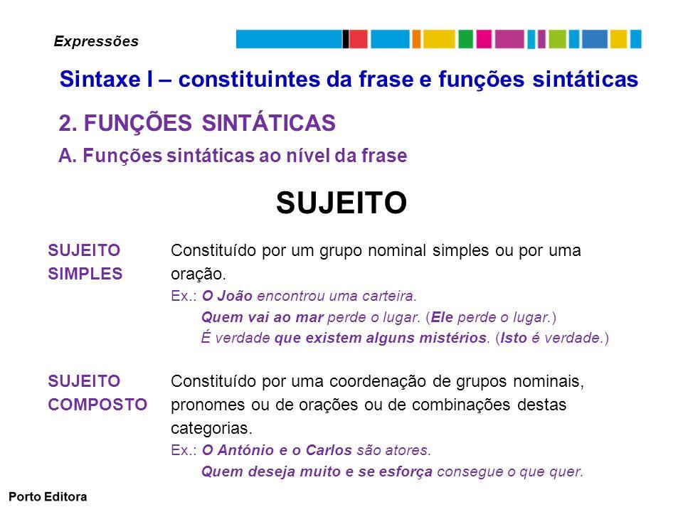 PREDICATIVO DO SUJEITO Função sintática desempenhada pelo constituinte que ocorre em frases com verbos copulativos, que predica algo acerca do sujeito.