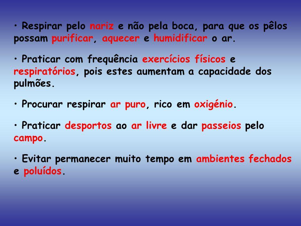 Praticar com frequência exercícios físicos e respiratórios, pois estes aumentam a capacidade dos pulmões.