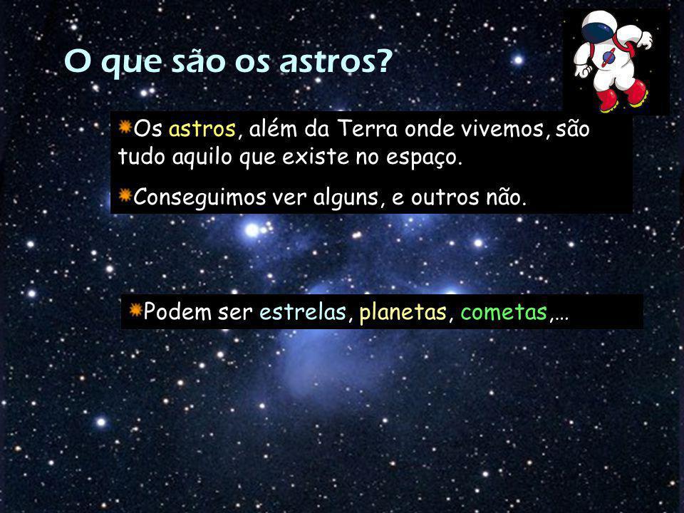 O que são os astros? Os astros, além da Terra onde vivemos, são tudo aquilo que existe no espaço. Conseguimos ver alguns, e outros não. Podem ser estr