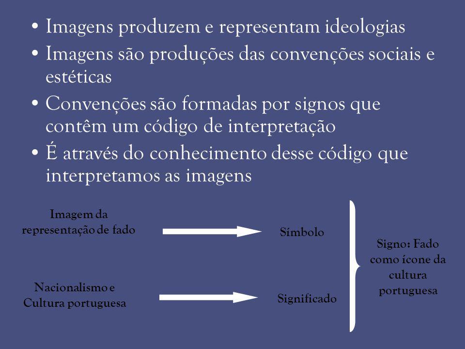 Imagens produzem e representam ideologias Imagens são produções das convenções sociais e estéticas Convenções são formadas por signos que contêm um có