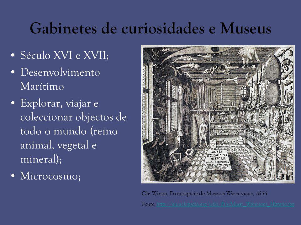 Gabinetes de curiosidades e Museus Século XVI e XVII; Desenvolvimento Marítimo Explorar, viajar e coleccionar objectos de todo o mundo (reino animal,