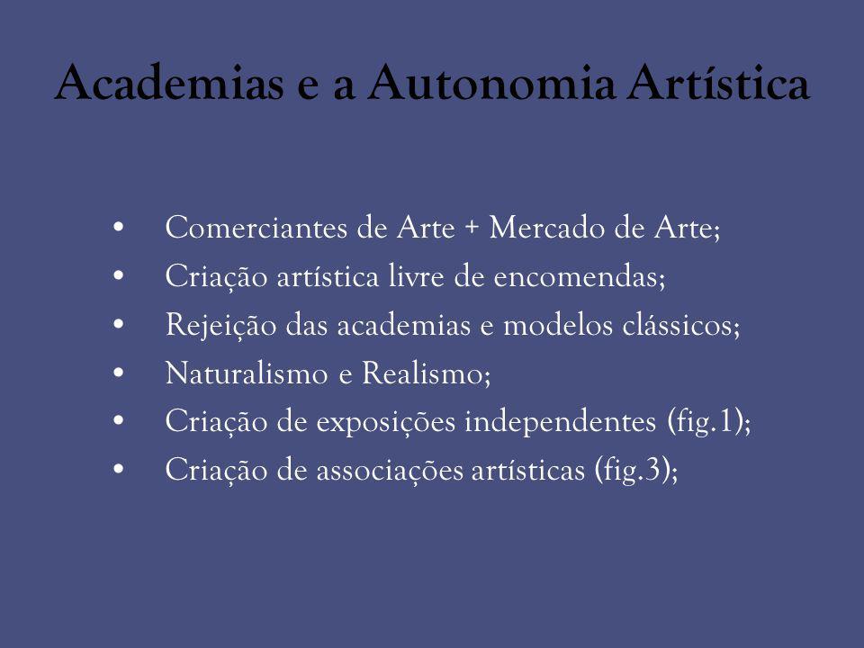 Academias e a Autonomia Artística Comerciantes de Arte + Mercado de Arte; Criação artística livre de encomendas; Rejeição das academias e modelos clás