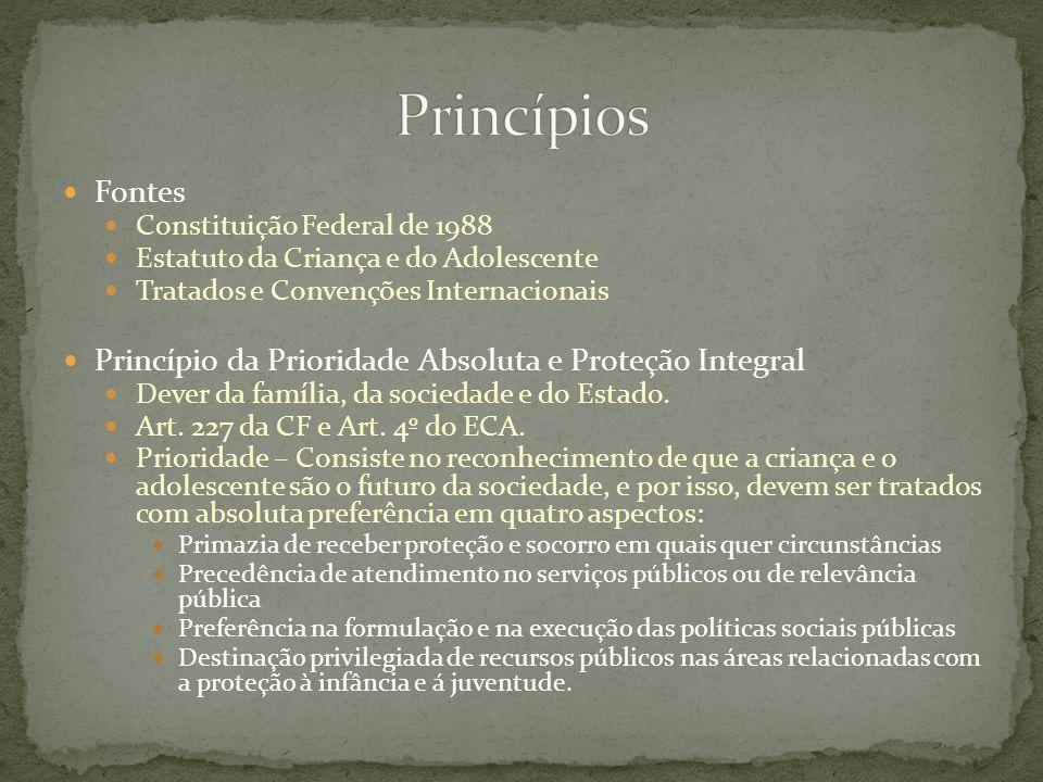 Fontes Constituição Federal de 1988 Estatuto da Criança e do Adolescente Tratados e Convenções Internacionais Princípio da Prioridade Absoluta e Prote
