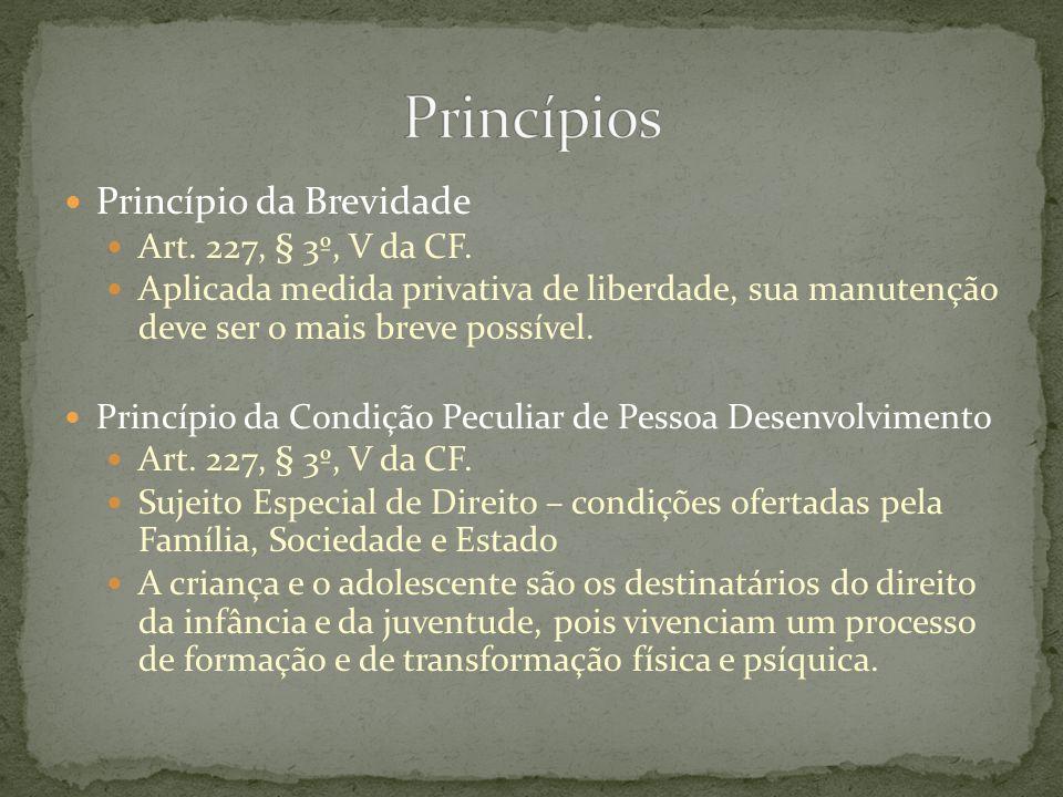 Princípio da Brevidade Art. 227, § 3º, V da CF. Aplicada medida privativa de liberdade, sua manutenção deve ser o mais breve possível. Princípio da Co