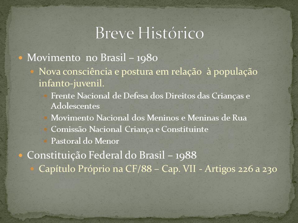 Movimento no Brasil – 1980 Nova consciência e postura em relação à população infanto-juvenil. Frente Nacional de Defesa dos Direitos das Crianças e Ad